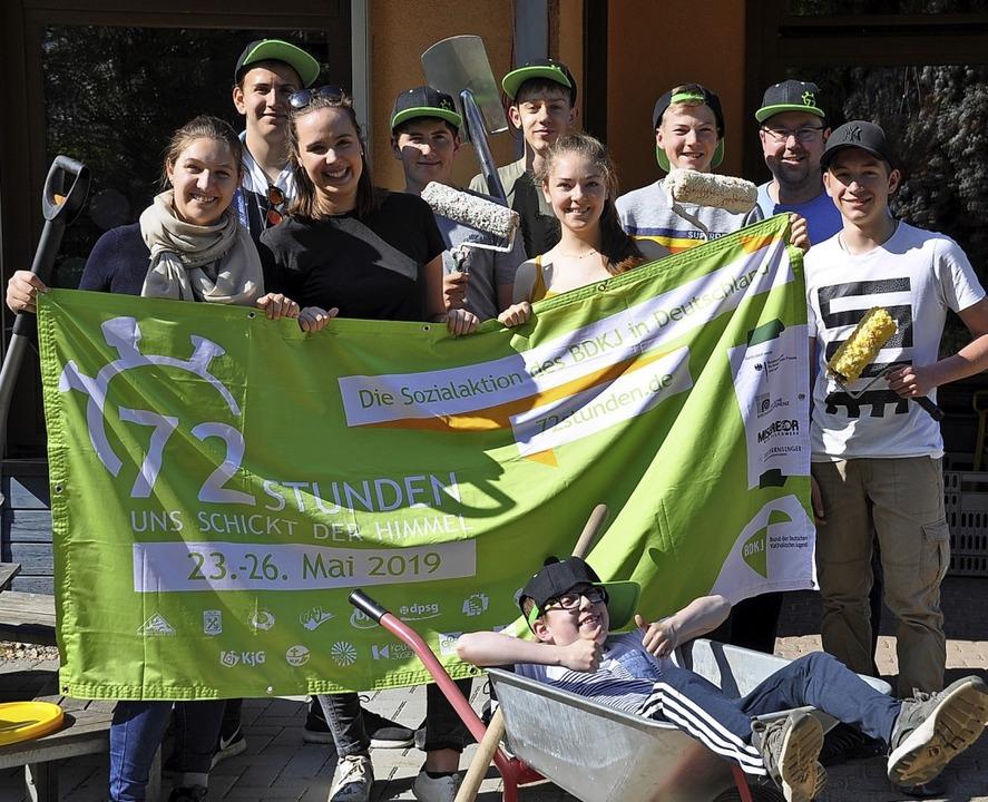 Die Firmgruppe in Staufen stellte sich...chts) der 72-Stunden-Herausforderung.   | Foto: Rainer Ruther