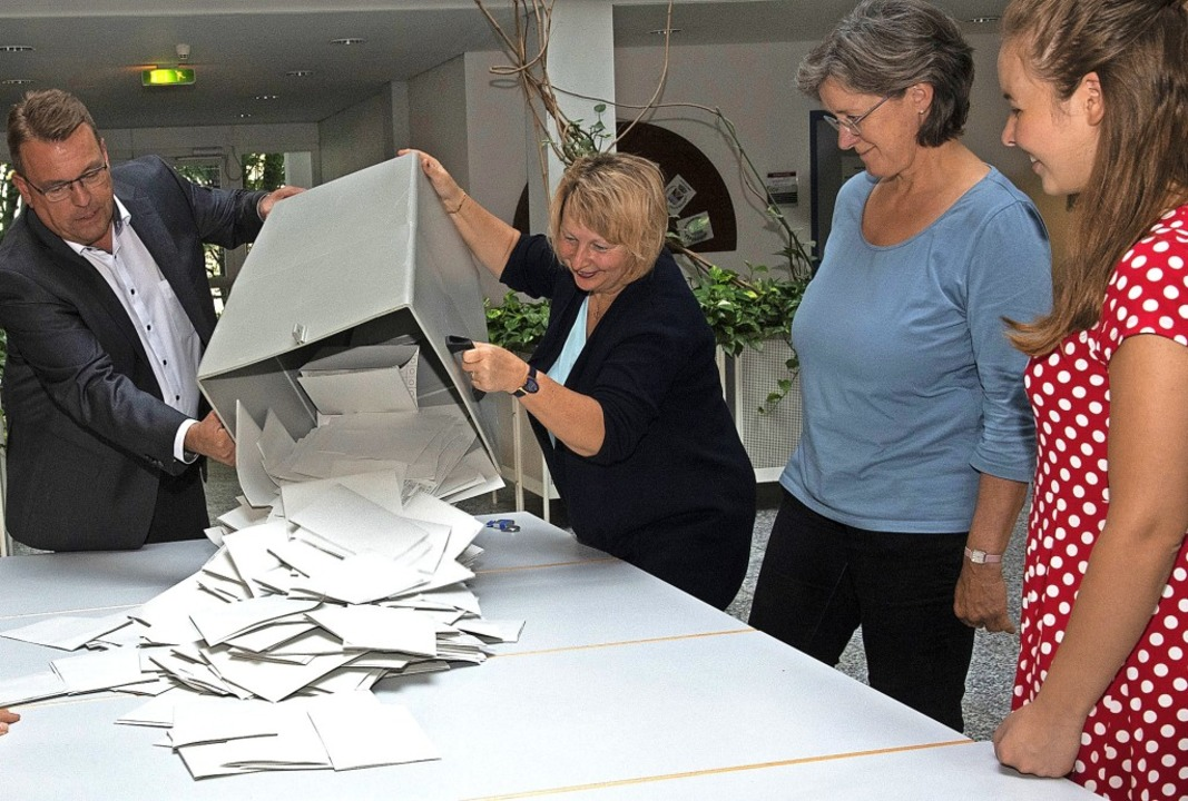 Die Stimmzettel purzeln: Im Müllheimer...ird eine Urne zur Europawahl entleert.  | Foto: Volker Münch