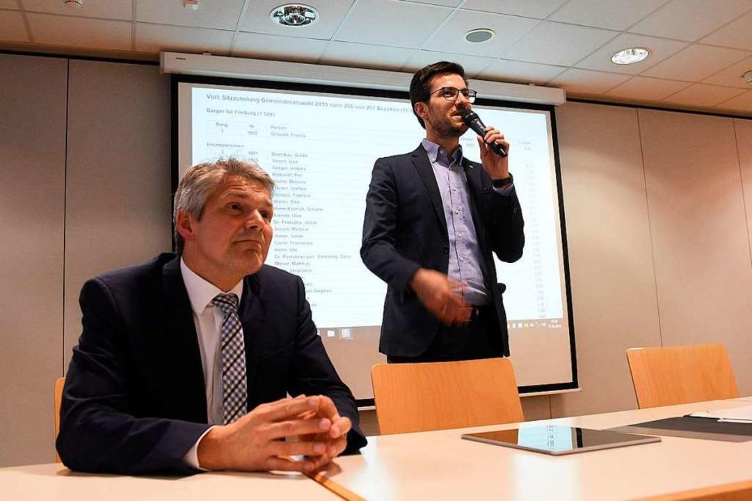 Bei der Bekanntgabe des Wahlergebnis i...Horn und Bürgermeister Stefan Breiter.  | Foto: Thomas Kunz