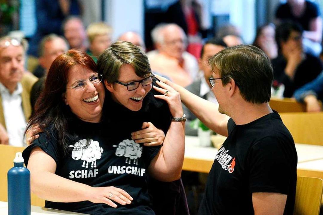 Großer Jubel bei GAF: Monika Stein fre...icz, die erstmals in den Rat einzieht.  | Foto: Thomas Kunz