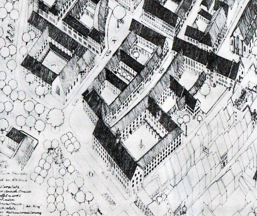 Die Isometrie von Stadtplaner Joseph S...tstand. Rechts oben die Martinskirche.  | Foto: Sammlung Joachim Scheck