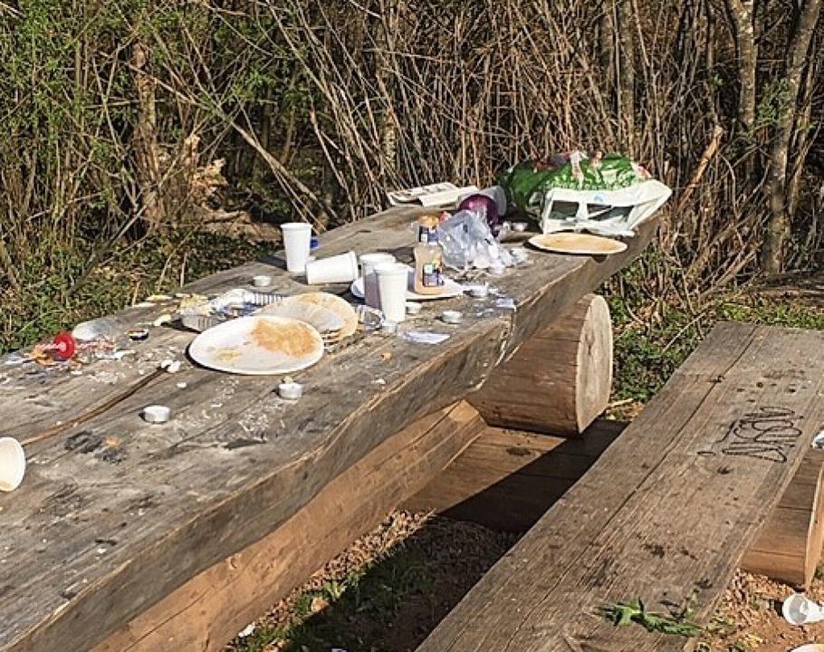 Oftmals bleibt viel Müll liegen – wie am Opfinger See.  | Foto: Alexandra Pander (Leserfoto)