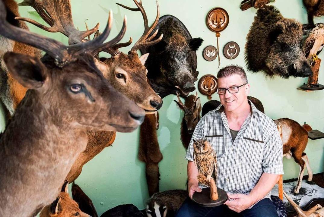 Tierpräparator Michael Sens sitzt zwischen präparierten Wildtieren.   | Foto: Daniel Bockwoldt (dpa)