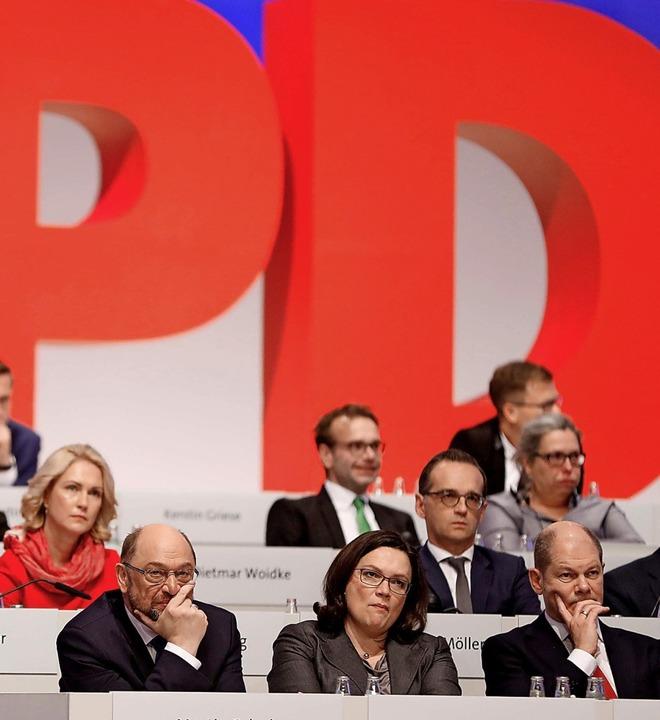 Betretene Gesichter: SPD-Parteitag kur...gangenen Bundestagswahl  im Jahr 2017   | Foto: ODD ANDERSEN