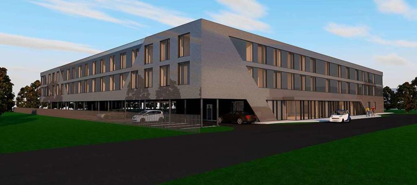 Blauen Himmel über Ettenheim gibt es schon, das Hotelprojekt soll noch kommen.  | Foto: Visualisierung: Marggraf Architektur Esslingen