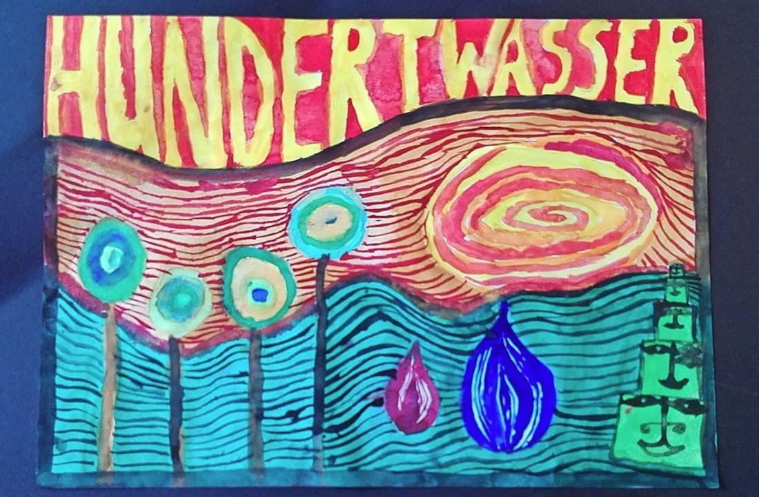 Emilia hat dieses Bild im Stil Hundertwassers gemalt.     Foto: Privat
