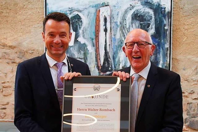 Walter Rombach erhält Ehrenbürgerbrief seiner Heimatgemeinde Kirchzarten