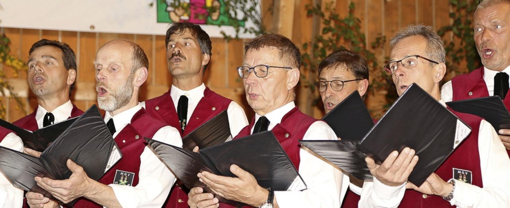 Auf den Vortrag konzentriert: Sänger des St. Märgener Chors   | Foto: Heinrich Fehrenbach