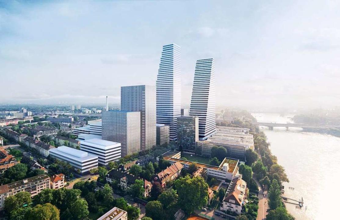 So sieht das Roche-Areal 2023 mit den ...rschungs- und Entwicklungszentrum aus.  | Foto: Roche/Herzig & De Meuron