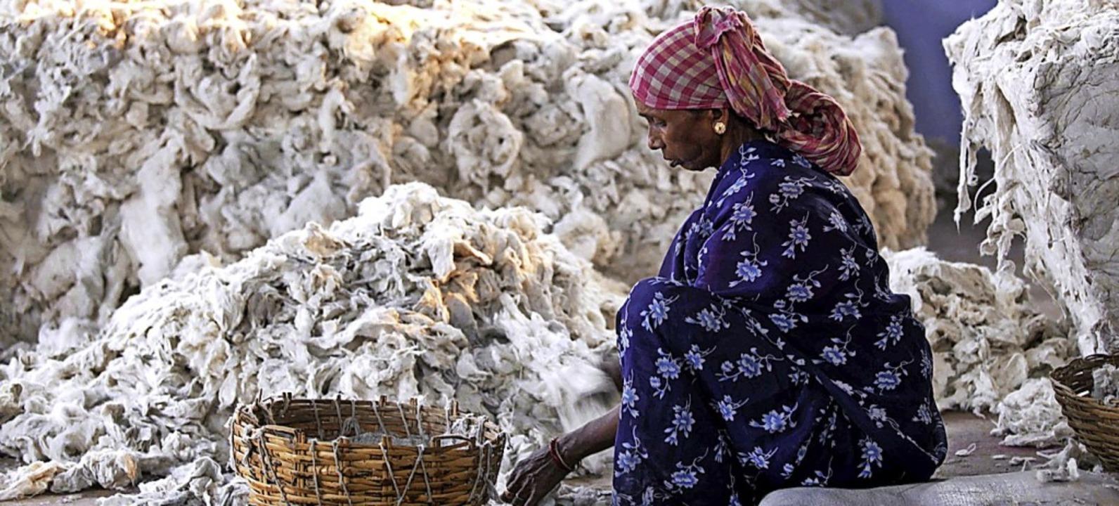 Vergiftete Baumwolle  gefährdet die Ge...e Frau beim Wollesortieren  in Indien.  | Foto: Piyal Adhikary (dpa)