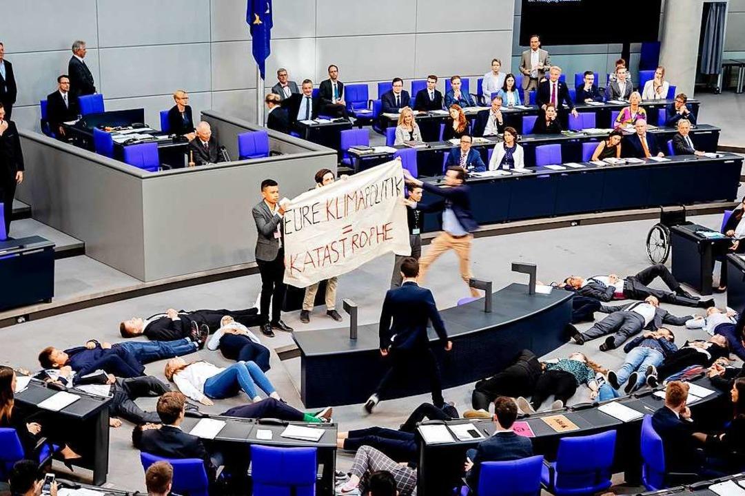 Klima-Protest im deutschen Bundestag    Foto: Christoph Soeder (dpa)