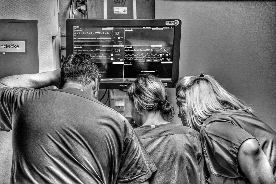 Monitor im A-Flur bei den Schockräumen  | Foto: Barbara Ruda