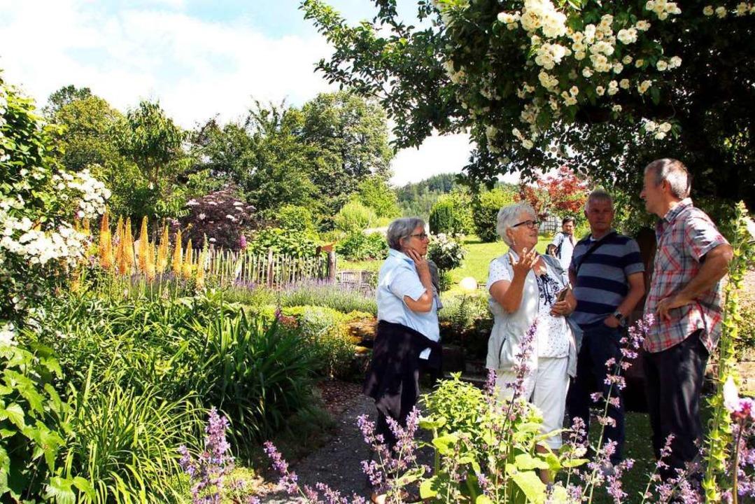 Gartenidylle in Kuhbach bei Sabine und Wilfried Rothmann  (rechts)    Foto: Heidi Fößel