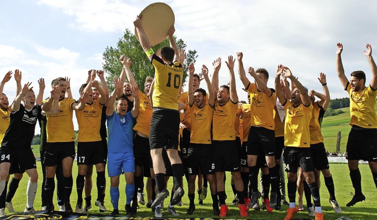 Mit einer selbstgebastelten Meistersch...a und den Aufstieg in die Landesliga.     Foto: ruoff