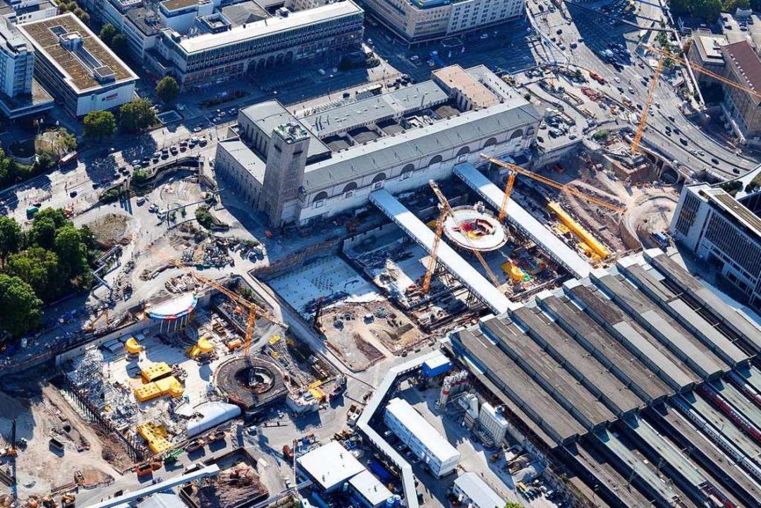 Blick auf die Baustelle des milliarden...t 21 (Aufnahme vom 12. September 2018)  | Foto: Bernd Weissbrod