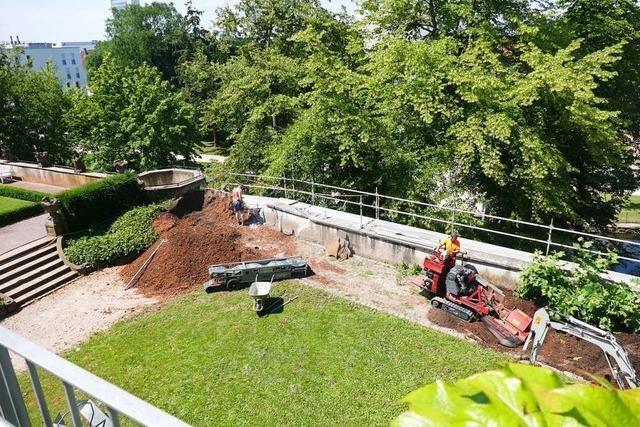 Drei Krater entstehen im Vinzentiusgarten