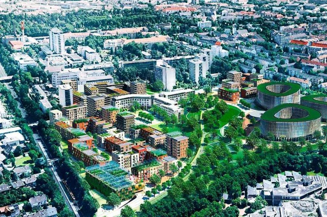 Zwischen Güterbahnlinie (links) und de... das geplante Quartier Kleineschholz.     Foto: Dietrich / Untertrifaller Architekten
