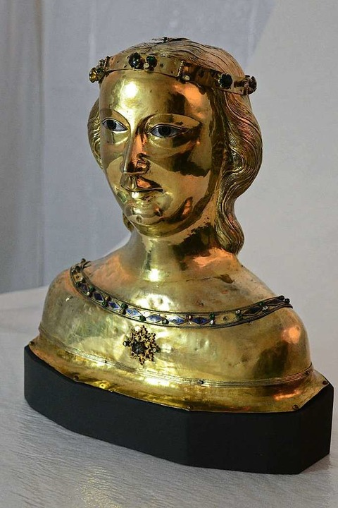 Büstenreliquiar der Heiligen Ursula, S...vergoldet, Anfang des 14. Jahrhunderts  | Foto: Annette Mahro