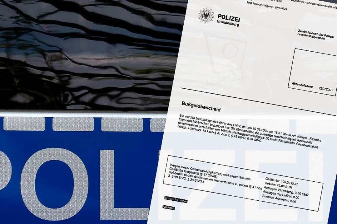 Bußgeldbescheid mit Trojaner: Die Polizei warnt vor betrügerischen E-Mails.    Foto: Coduka GmbH (dpa)