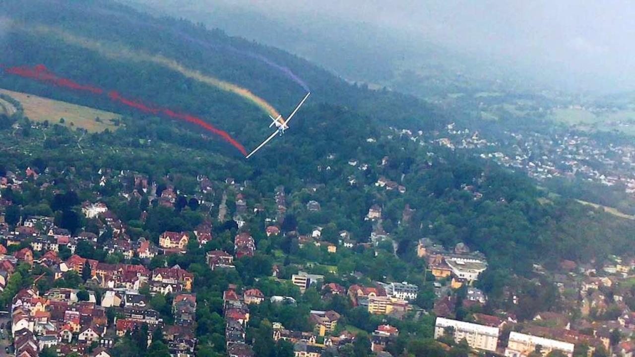 So hätte der Regenbogen ausgesehen, we...to entstand beim Probeflug im Vorfeld.  | Foto: Benjamin Dorwarth