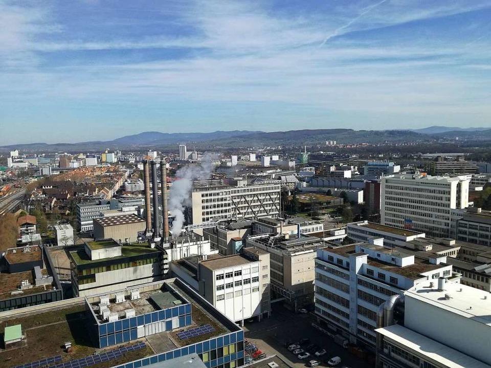 Blick auf das Klybeck-Areal  vom Novartis-Hochhaus in Richtung Norden.  | Foto: Michael Baas
