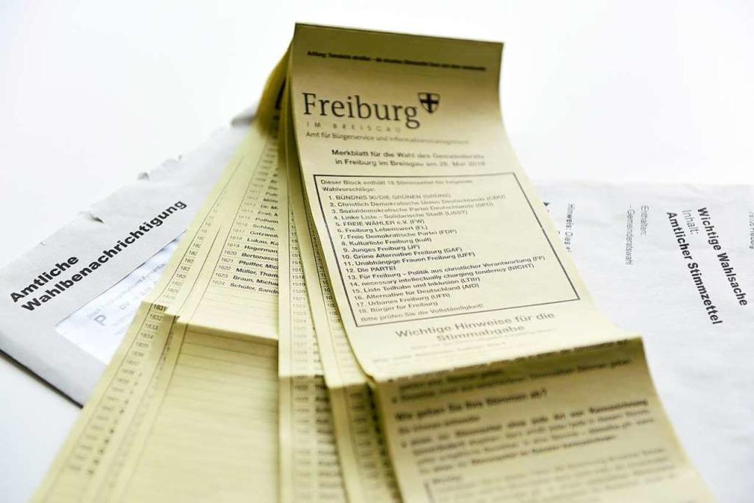 Die Wahlzettel von der Kommunalwahl in Freiburg am 26. Mai 2019  | Foto: Rita Eggstein
