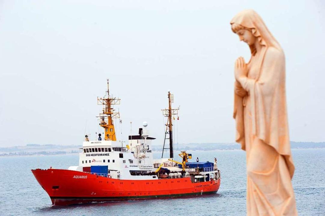 "Das Rettungsschiff ""Aquarius&#82...che plant ein eigenes Rettungsprojekt.    Foto: Salvatore Cavalli (dpa)"