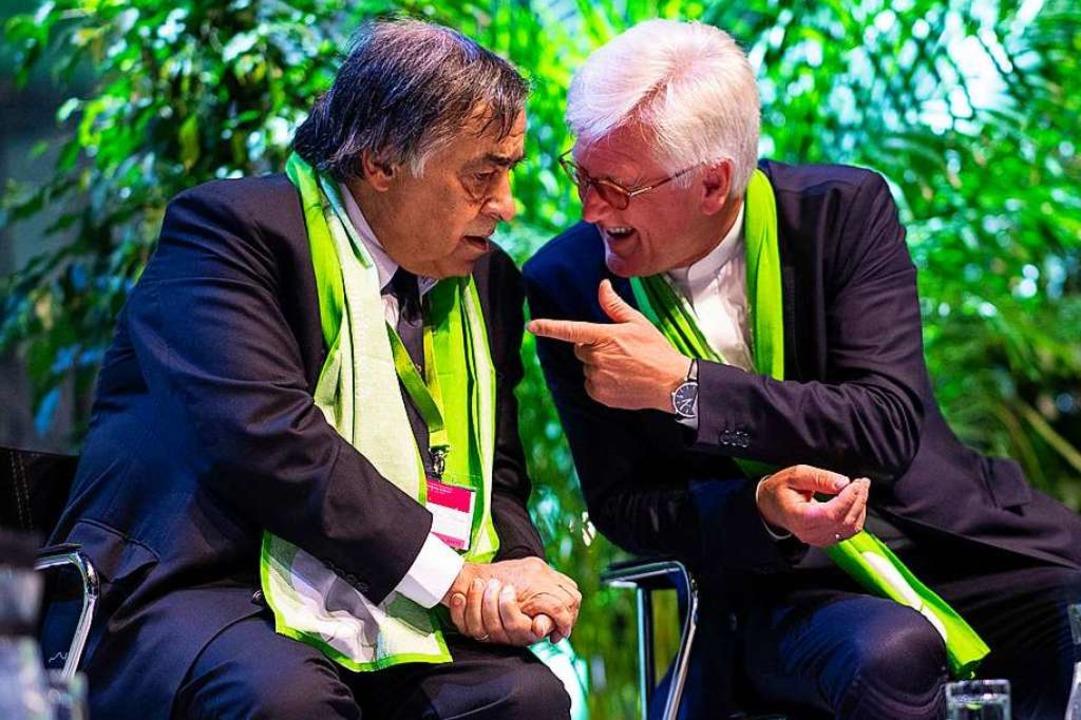 Bürgermeister Leoluca Orlando und Heinrich Bedford-Strohm in Dortmund    Foto: Guido Kirchner (dpa)