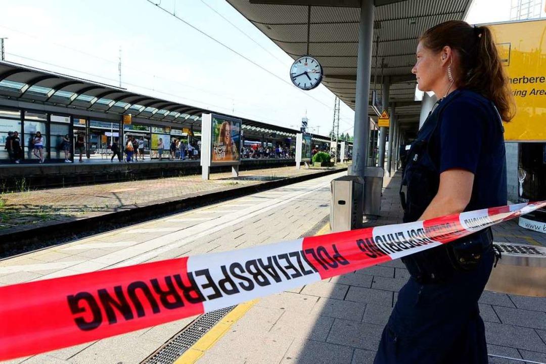 Gleis 1 am Freiburger Hauptbahnhof ist derzeit gesperrt.  | Foto: Ingo Schneider