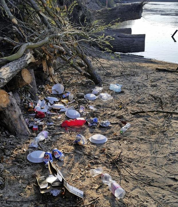Umweltsünder entsorgen ihren Müll am R... Dabei gelangt Plastik in den Fluss.    | Foto:  Fischereiverein Bad Säckingen
