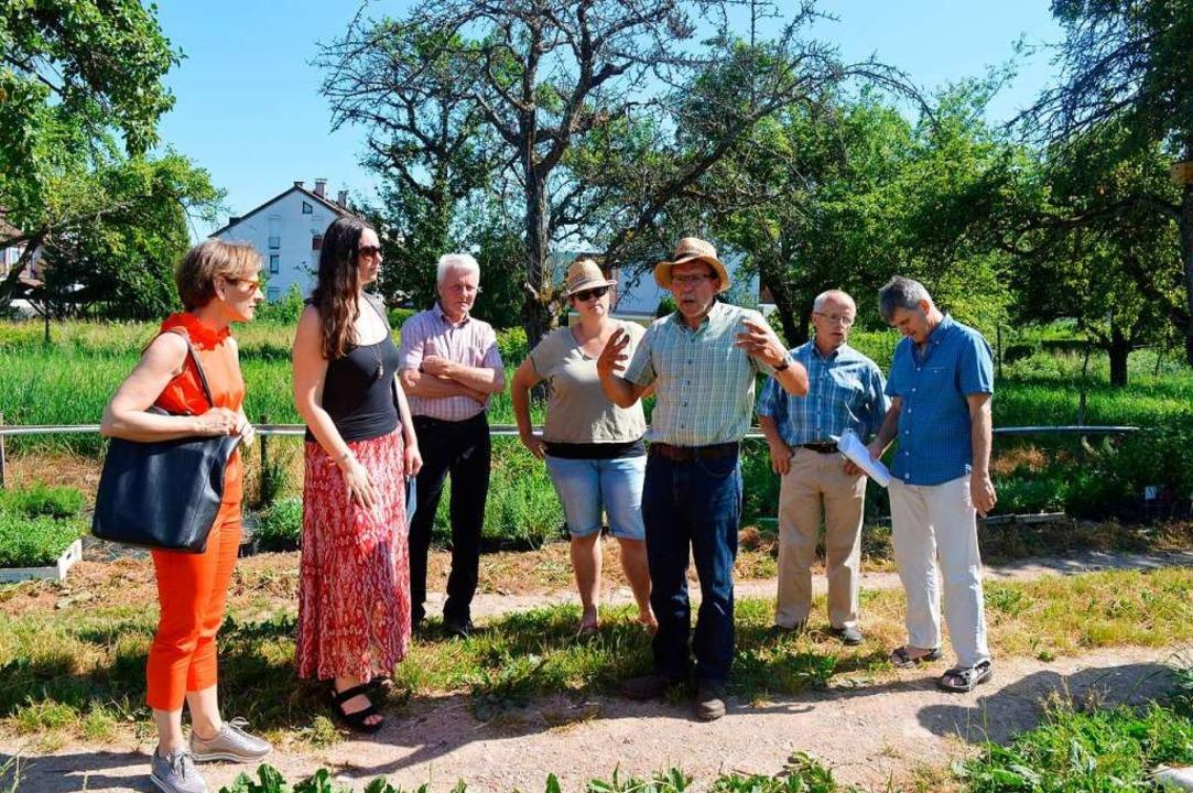 Norbert Götz (Mitte) erklärt  Chancen ... und  Rolf Hess (von links) hören zu.     Foto: Jutta Schütz