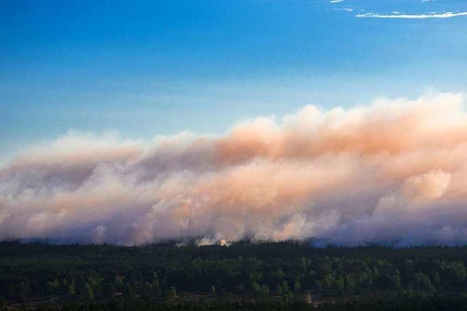 Rauch steigt bei einem großflächigen Waldbrand in der Nähe der evakuierten Ortschaft Alt Jabel aus dem Wald auf. (Foto: Jens Büttner (dpa))
