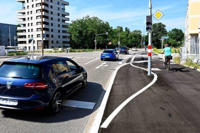Am Radweg an der Eschholzstraße steht den Radlern eine Ampel im Weg