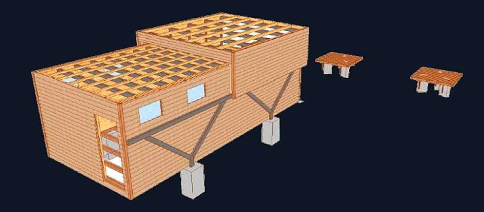 Skizze der Rolldachhütte mit zwei Beob...n freien Blick gen Himmel zu gewähren.  | Foto: Büro Karcher und Partner