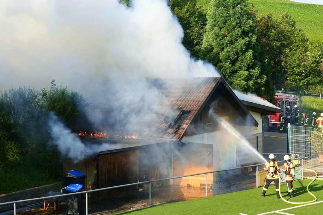 Die Garage des FSV Ebringen brannte Anfang des Monats.  | Foto: Andrea Gallien