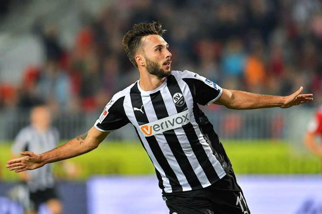 So will Fabian Schleusener demnächst für den 1. FC Nürnberg jubeln.  | Foto: Uwe Anspach
