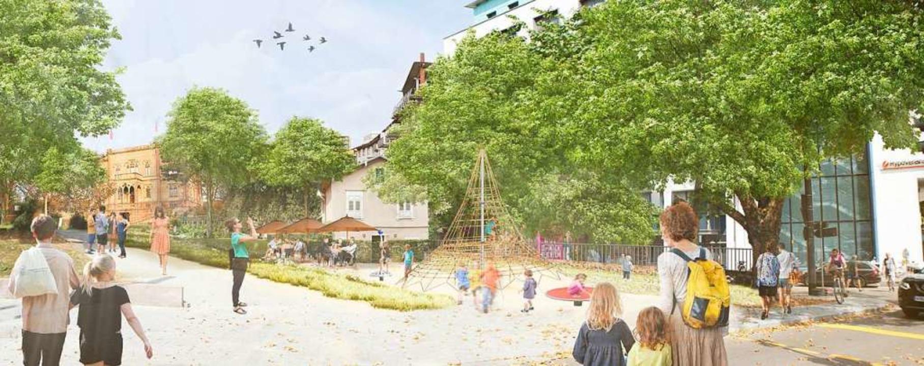 So könnte der geplante Spielplatz im umgestalteten Colombipark aussehen.  | Foto: Stadt Freiburg