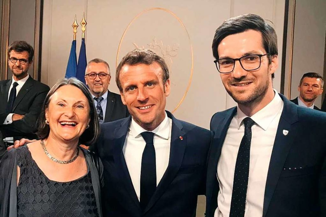 Frankreichs Präsident Emmanuel Macron ...Oberbürgermeister Martin Horn in Paris  | Foto: privat