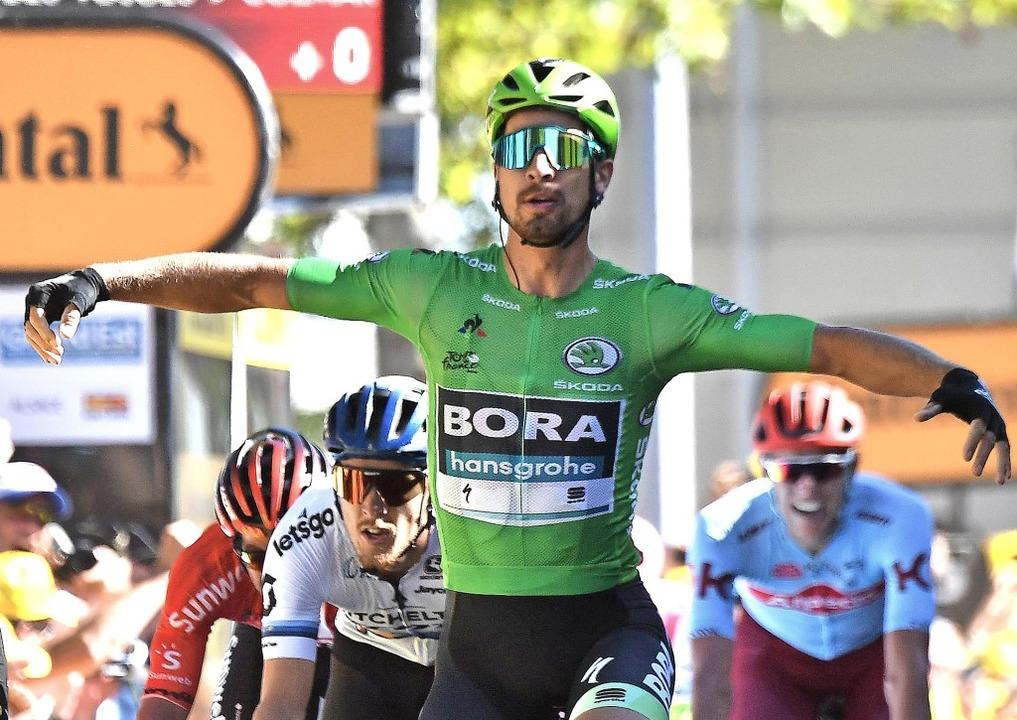 Ex-Weltmeister Peter Sagan, Kapitän de...n Colmar nach der fünften Tour-Etappe   | Foto: JEFF PACHOUD (AFP)