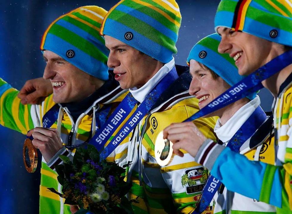 Der größte Erfolg: WM-Gold 2014 in Sotschi (Wank ganz rechts)  | Foto: Barbara Walton