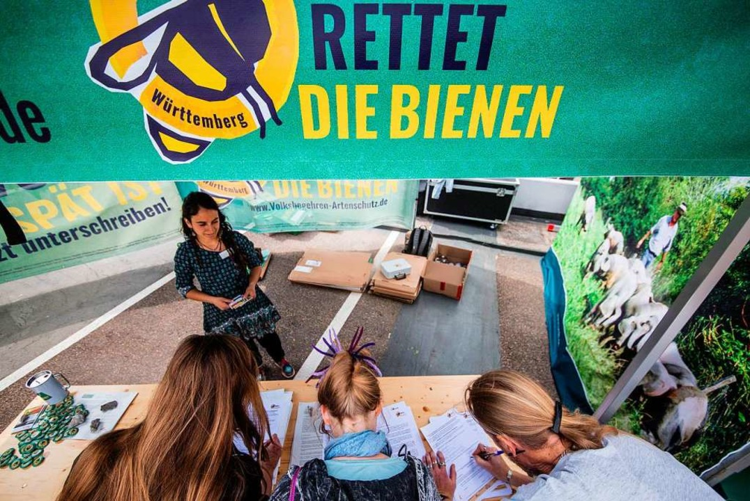 Unterschriftensammlung in Stuttgart  | Foto: Christoph Schmidt