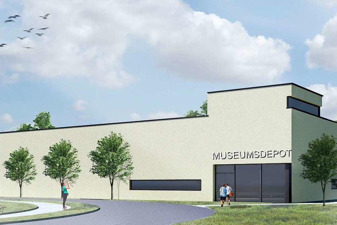 So soll das Museumsdepot vom Eingang her einmal aussehen.  | Foto: wilhelm und hovenbitzer Architekten