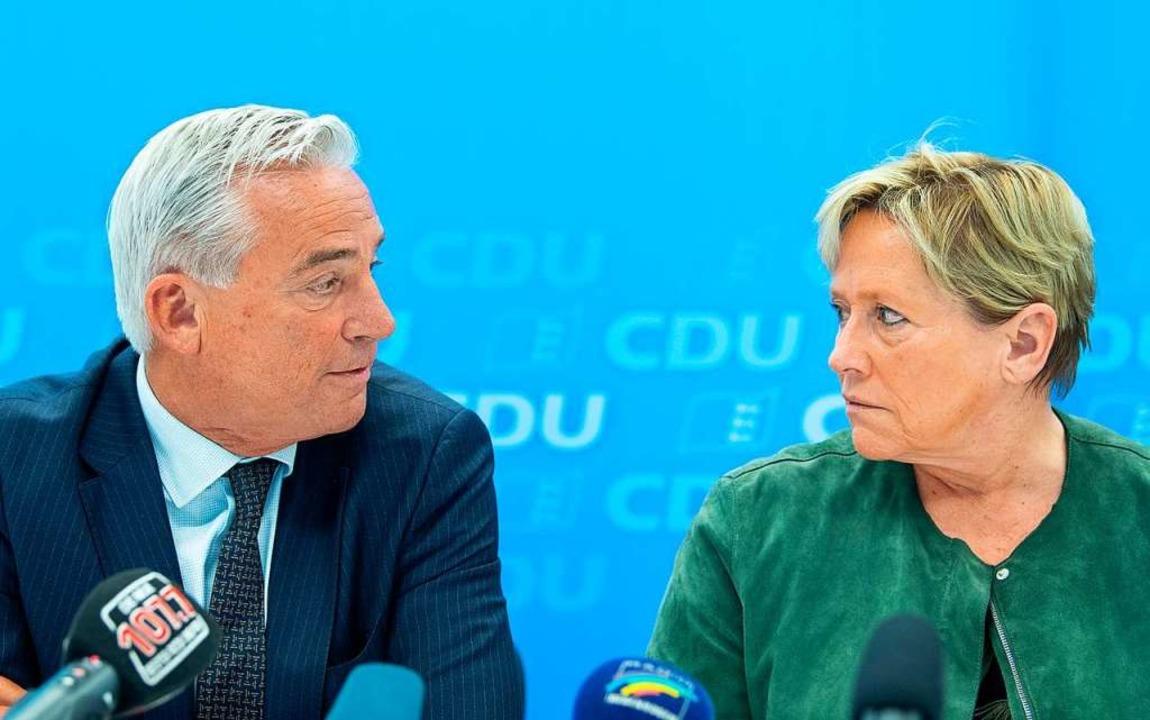 Wer regiert mit im Land: Thomas Strobl oder Susanne Eisenmann? Beide, sagen sie.  | Foto: Sebastian Gollnow