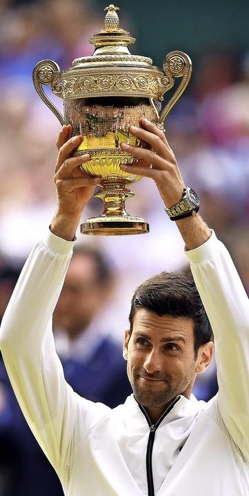 Novak Djokovic  am Ziel    Foto: Victoria Jones (dpa)
