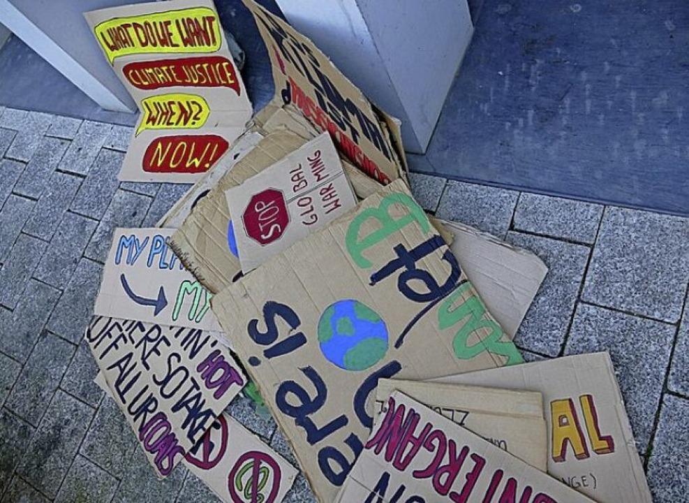 Plakate bei der Klimademo  | Foto: Tamara Keller