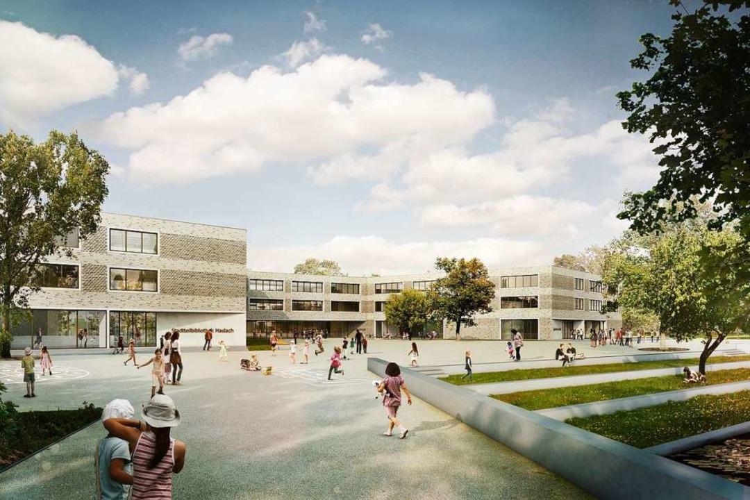 So soll der Komplex für Schule, Jugendtreff und Stadtteilbibliothek  aussehen.   | Foto: Sacker Architekten