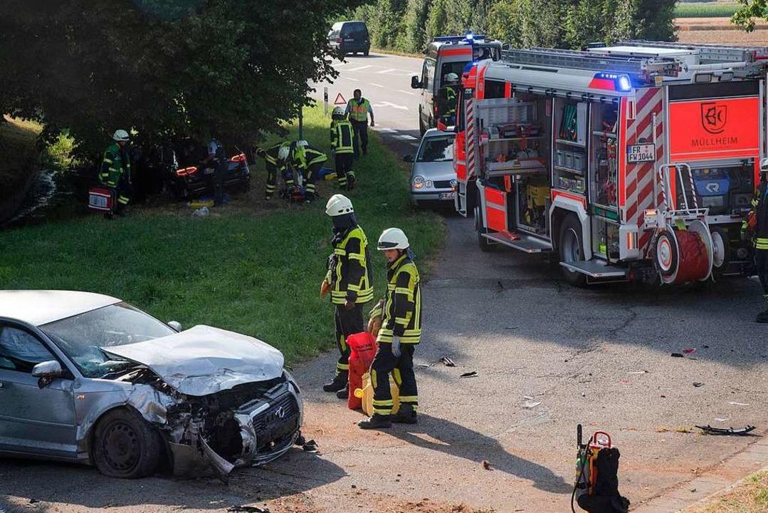 Feuerwehr und Rettungsdienst waren am Mittwochabend in Müllheim im Einsatz.  | Foto: Volker Münch