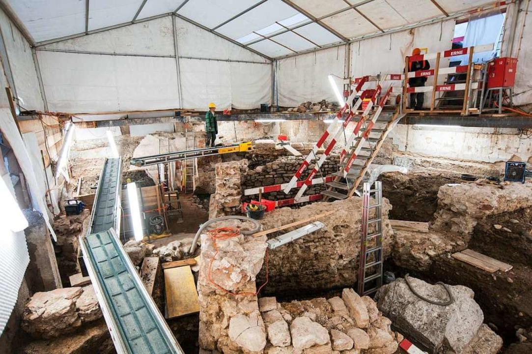 Übersicht über die Ausgrabung an der S...henzeit grösstenteils abgebaut wurden.  | Foto: Adrian Jost (Achäologische Bodenforschung Basel-Stadt)