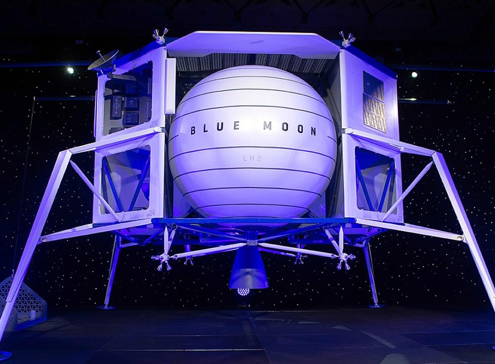 Mit Amazon zum Mond? Modell von Jeff Bezos' Landefähre  | Foto: SAUL LOEB (AFP)