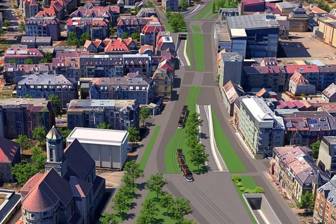 So sollen Zu- und Abfahrten des Stadtt...erkehr die Wiehre (links) abschneidet.  | Foto: Animation: RP Freiburg